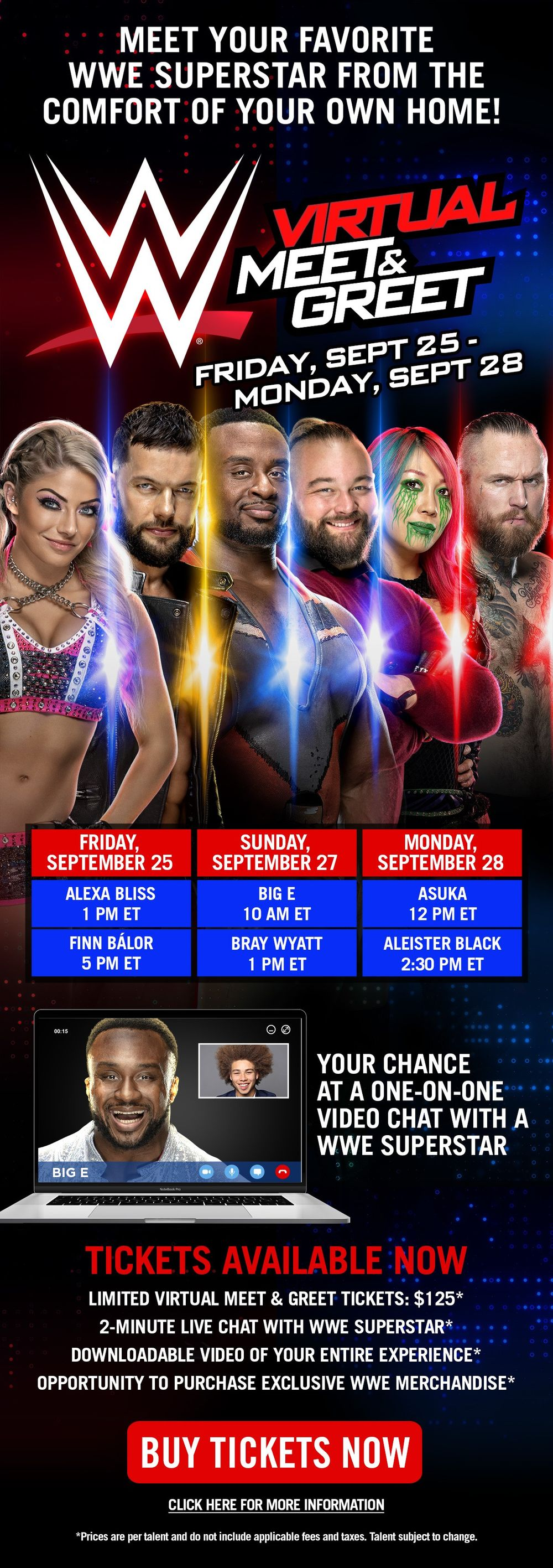 WWE Virtual Meet & Greet Tickets available now